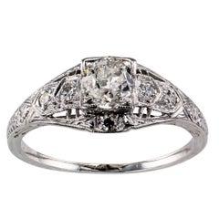 Art Deco 0.44 Carat Diamond Platinum Engagement Ring