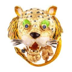 Enamel Tiger Sapphire Gold Brooch