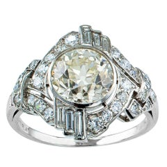 GIA 1.77 Carat Diamond Art Deco Platinum Engagement Ring