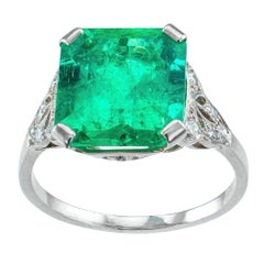Colombian Emerald 4.05 Carat Art Deco Diamond Platinum Ring