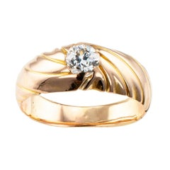Antique 1900s Diamond Solitaire Gold Engagement Ring