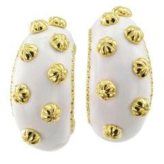 Boris Le Beau White Enamel Gold Earrings