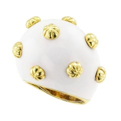 Boris Le Beau White Enamel Gold Ring