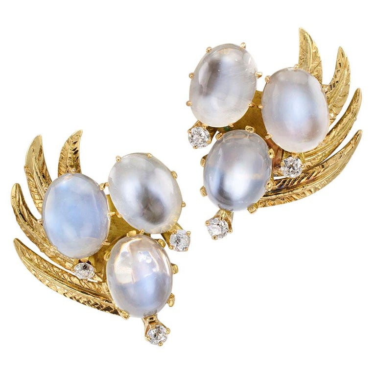 1950s Moonstone Diamond Gold Earclips For Sale