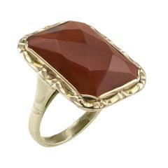 Art Deco Carnelian Gold Ring