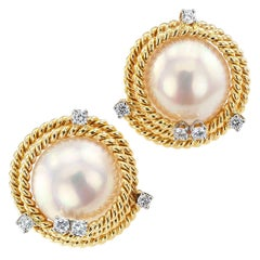 Tiffany & Co. Schlumberger Mabe Pearl Diamond Ear Clips