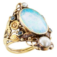Arts & Crafts Opal Pearl Sapphire Gold Ring