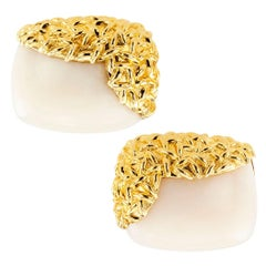 French White Coral Gold Cufflinks