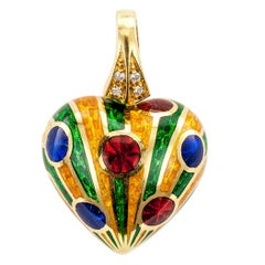 Heart Pendant Poly Chrome Enamel Diamond Gold
