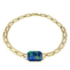 Art Deco Azurite Malachite Gold Necklace