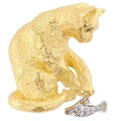 Tiffany & Co. Figural Cat Brooch Emeralds Diamonds Gold