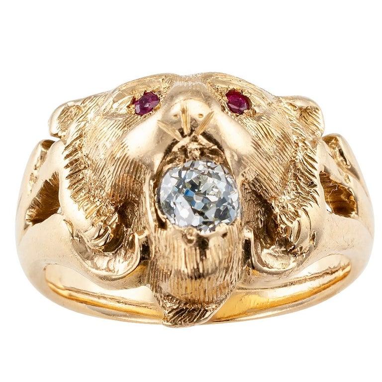 Victorian Lion Head Ruby Diamond Gold Ring