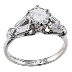 Midcentury 0.78 Carat Diamond Platinum Engagement Ring