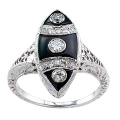 Art Deco Onyx Diamond Gold Ring