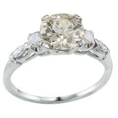 1.31 Carat Old European Cut Diamond Engagement Ring Platinum