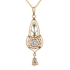 Edwardian Diamond Gold Pendant
