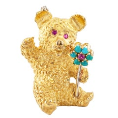 Cartier Teddy Bear Brooch Ruby Turquoise Gold