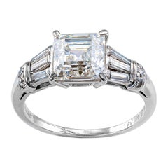 Gia H Color 2.25 Carat Asscher Cut Diamond Platinum Engagement Ring