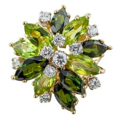 Peridot Green Tourmaline Diamond Gold Cocktail Ring