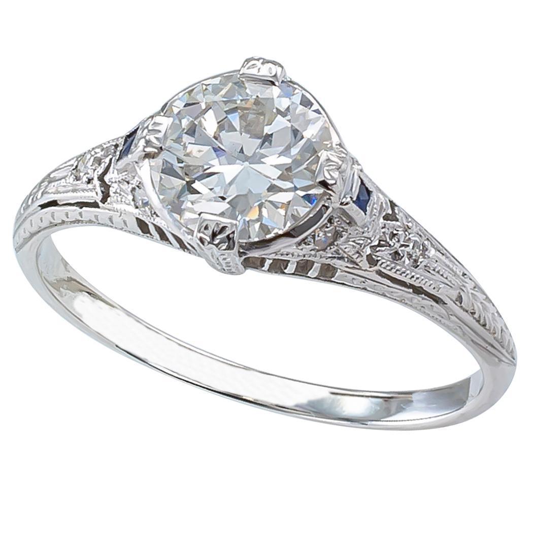 Art Deco 0.96 Carat Diamond Solitaire Platinum Engagement Ring