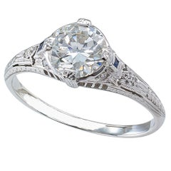 Art Deco 0.96 Carat Diamond Solitaire Platinum Engagement Ring