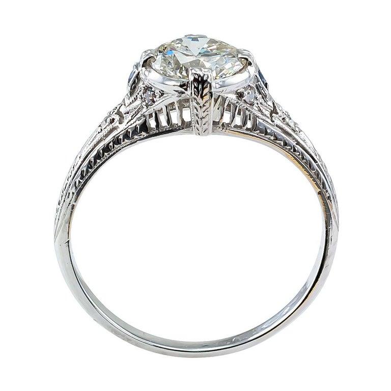 Art Deco 0.96 Carat Diamond Solitaire Platinum Engagement Ring For Sale 1
