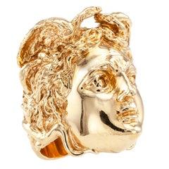 Medusa Head Figural Gold Ring
