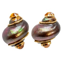 Seaman Schepps Bronze Colored Shell Citrine Gold Earrings