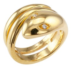Diamond Eyes Snake Gold Ring