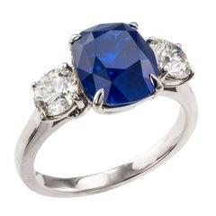 3.69 Carat Ceylon Sapphire Diamond Three-Stone Platinum Ring