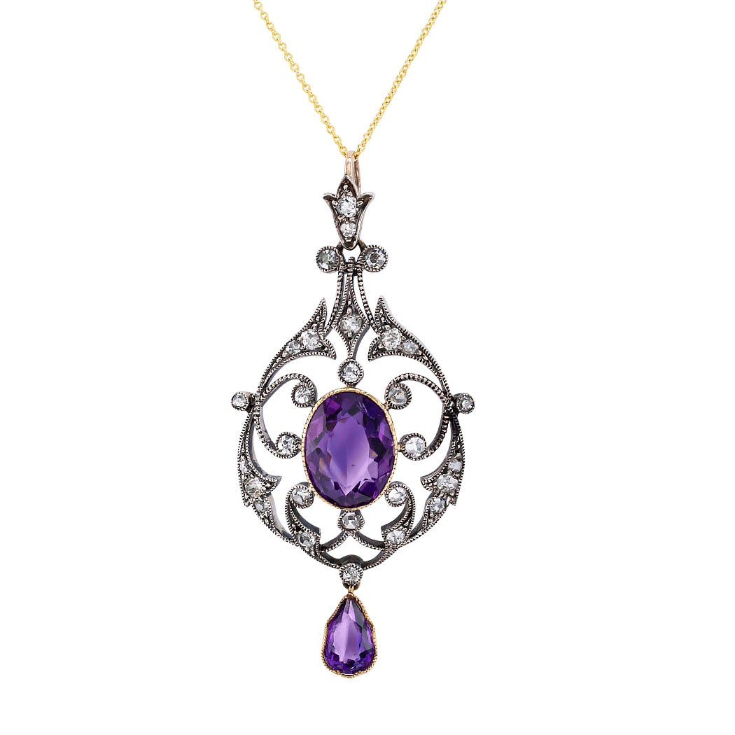 Victorian Amethyst Old Mine Cut Diamond Gold Silver Pendant