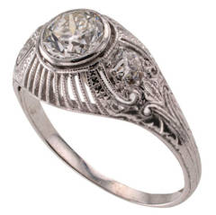 Edwardian Three-Stone Diamond Platinum Engagement Ring