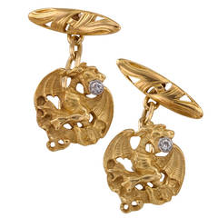 Art Nouveau Diamond Gold Griffin Cufflinks