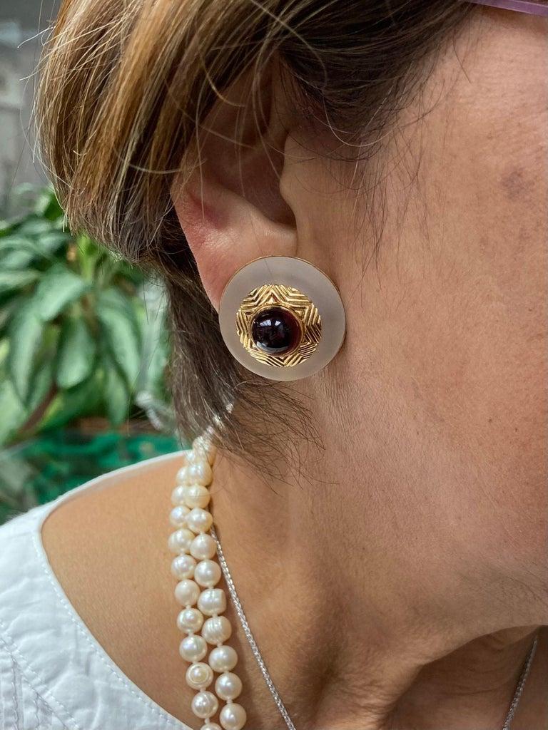 Tiffany & Co. Rock Crystal Garnet Yellow Gold Clip On Earrings For Sale 1