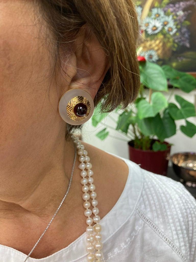 Tiffany & Co. Rock Crystal Garnet Yellow Gold Clip On Earrings For Sale 2