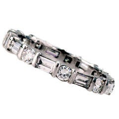 Baguette and Round Diamond Platinum Eternity Ring