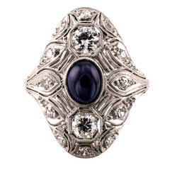 Art Deco Sapphire Diamond Platinum Dinner Ring