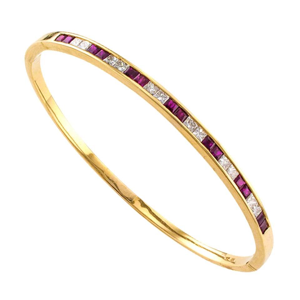 ruby diamond gold bangle bracelet at 1stdibs