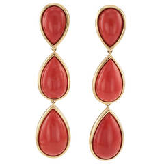 Coral Gold Pendant Earrings