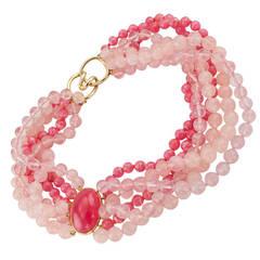 Tiffany & Co. Rhodochrosite Rose Quartz Torsade Necklace
