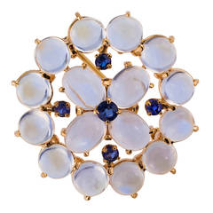 Tiffany & Co. Moonstone And Sapphire Brooch