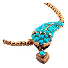 Antique Turquoise & Gold Snake Necklace