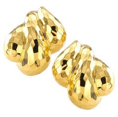 Henry Dunay Hammered Gold Ear Clips