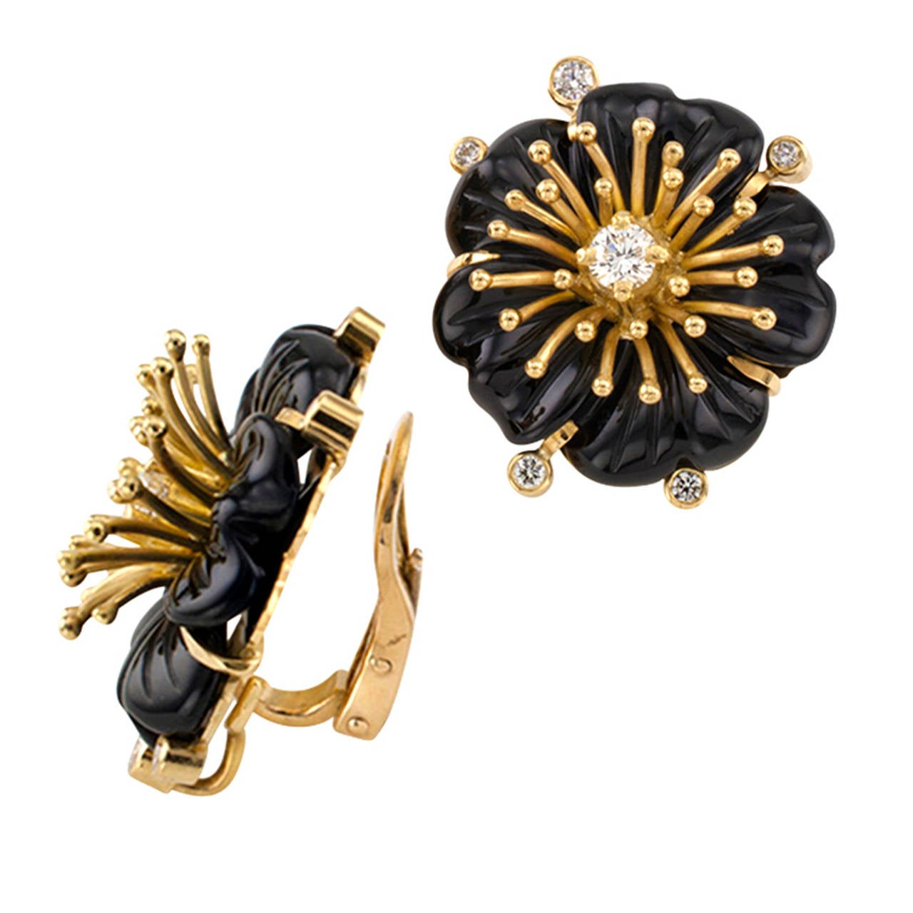 Carved Black Onyx And Diamond Flower Earrings 2