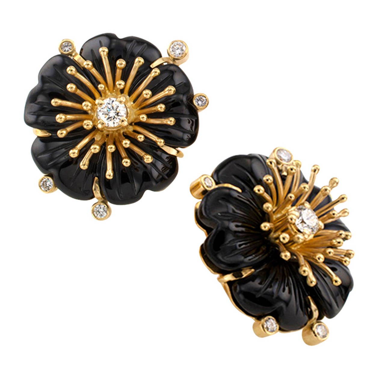 Carved Black Onyx And Diamond Flower Earrings 3