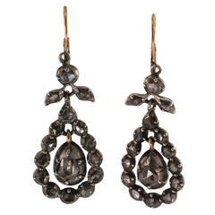 Antique Georgian Diamond Silver Gold Pendant Earrings
