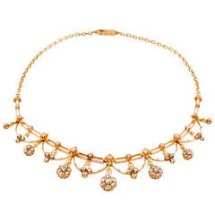 Antique Rose-Cut Diamond Gold Necklace