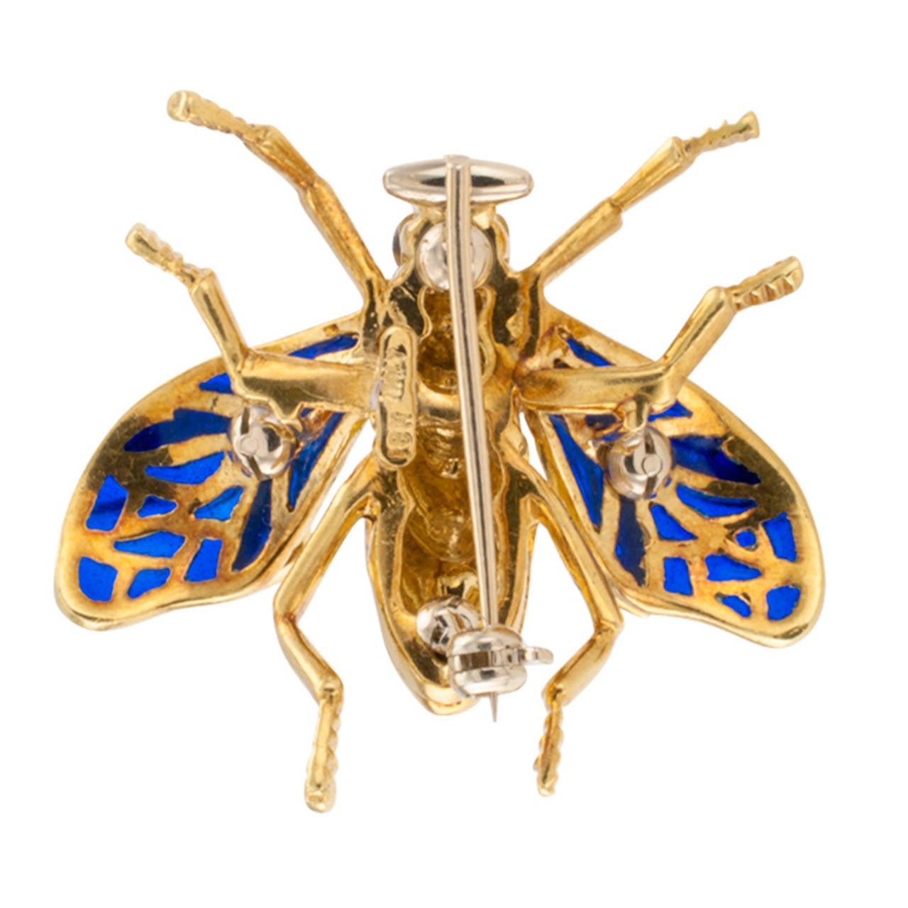 Plique A Jour Enamel Diamond Gold Bee Brooch 2