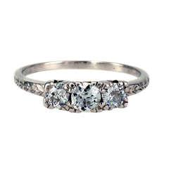 1930s Three-Stone Diamond Platinum Engagement Ring