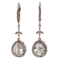 Rose-Cut Diamond Gold Drop Earrings